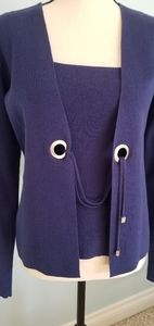 Armani 2 piece deep blue blouse and cardigan